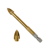 Quick Change Hex Shank Cross Carbide Tip Glass Drill Bit